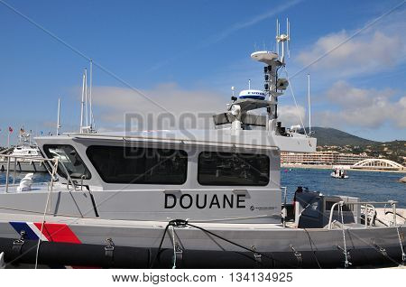 Sainte Maxime France - april 16 2016 : customs boat in the port