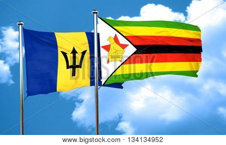 Barbados flag with Zimbabwe flag, 3D rendering