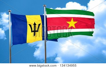 Barbados flag with Suriname flag, 3D rendering