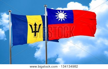 Barbados flag with Taiwan flag, 3D rendering