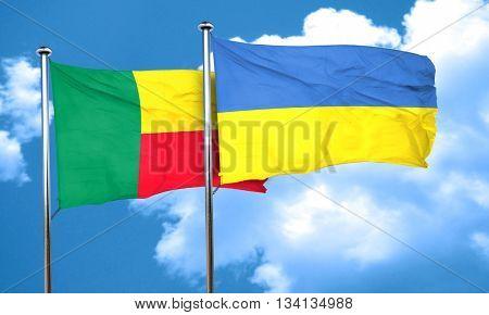 Benin flag with Ukraine flag, 3D rendering