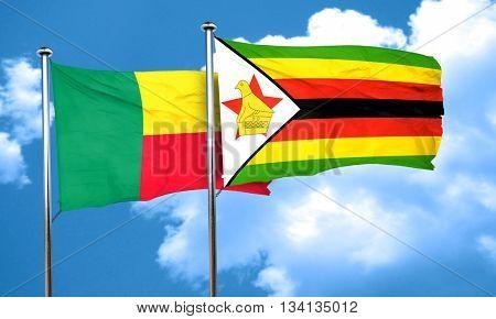 Benin flag with Zimbabwe flag, 3D rendering