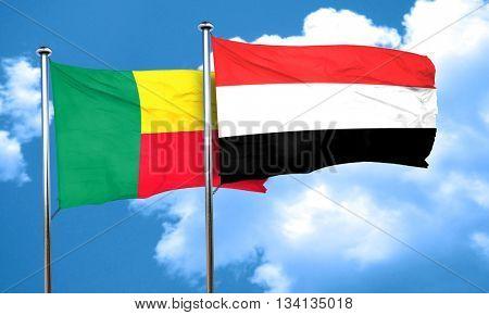 Benin flag with Yemen flag, 3D rendering