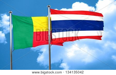 Benin flag with Thailand flag, 3D rendering