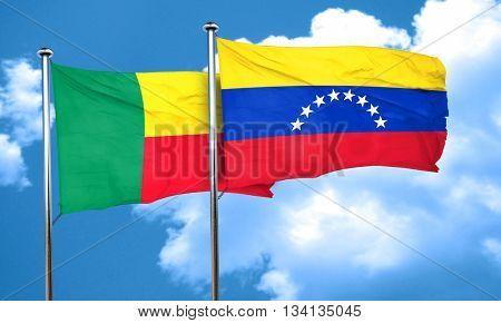 Benin flag with Venezuela flag, 3D rendering