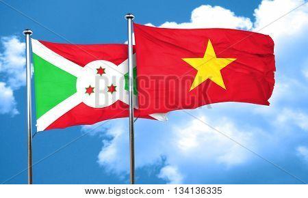 Burundi flag with Vietnam flag, 3D rendering
