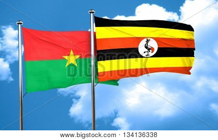 Burkina Faso flag with Uganda flag, 3D rendering