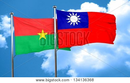 Burkina Faso flag with Taiwan flag, 3D rendering