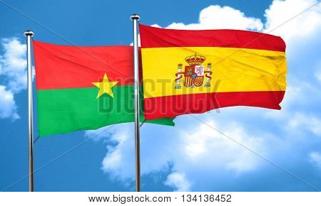 Burkina Faso flag with Spain flag, 3D rendering