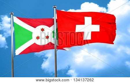 Burundi flag with Switzerland flag, 3D rendering