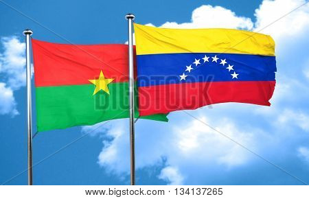 Burkina Faso flag with Venezuela flag, 3D rendering
