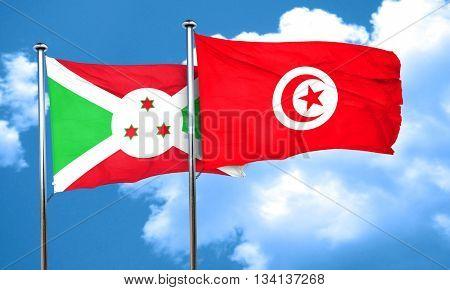 Burundi flag with Tunisia flag, 3D rendering
