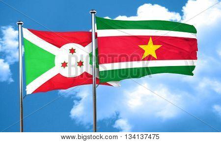 Burundi flag with Suriname flag, 3D rendering