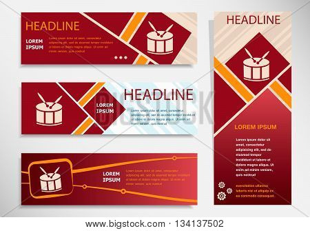 Drum Icon On Vector Website Headers, Business Success Concept