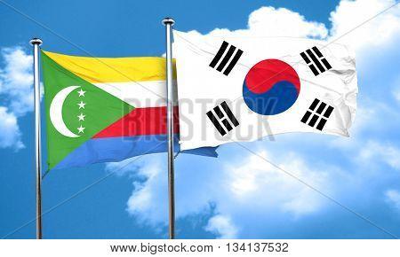 Comoros flag with South Korea flag, 3D rendering