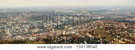 Stuttgart Germany - October 19 2008: View over Stuttgart before the railroad project