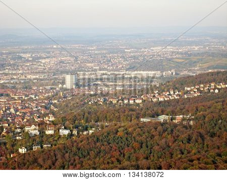 Stuttgart Germany - October 19 2008: View over city of Stuttgart - famous buildings from left to right - Gaskessel Neckarstadion / Mercedes-Benz-Arena