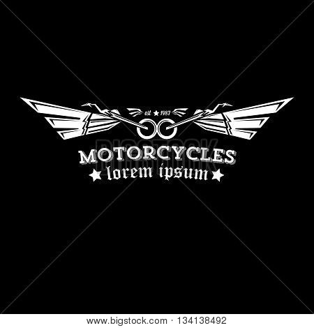vector vintage motorcycle label or badge, design element. abstract motorcycle logo with wings