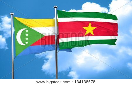 Comoros flag with Suriname flag, 3D rendering