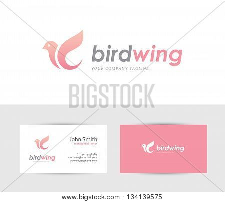 Abstract bird icon with business card design template. Can be used for spa beauty health or family care center logo concept