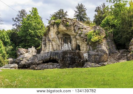 VERSAILLES, FRANCE - MAY 12, 2013: This is one of the fountains in the park of Versailles - Fountain Bath of Apollo.