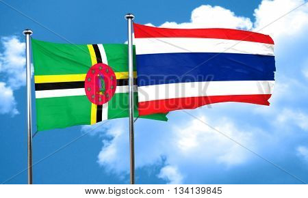 Dominica flag with Thailand flag, 3D rendering