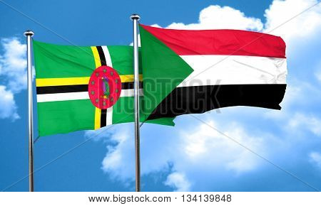 Dominica flag with Sudan flag, 3D rendering