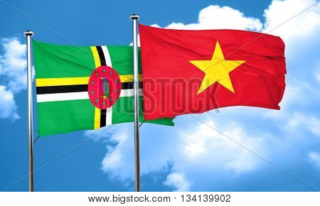 Dominica flag with Vietnam flag, 3D rendering