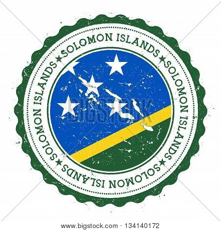 Solomon Islands Map And Flag In Vintage Rubber Stamp Of State Colours. Grungy Travel Stamp With Map
