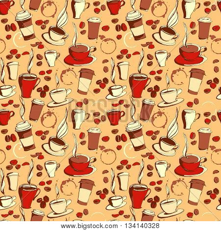 Vector illustration Grungy hand drawn ink coffee to go, cups, mugs, beans and lettering  seamless pattern. Coffee cup, coffee beans, tea, coffee shop, drinking coffee, coffee mug, background pattern