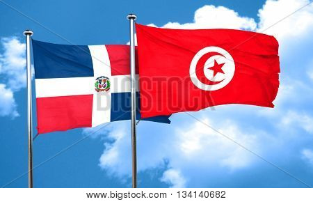 dominican republic flag with Tunisia flag, 3D rendering
