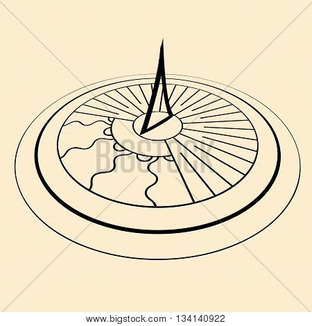 Black sundial silhouette in perspective isolated on yellow background