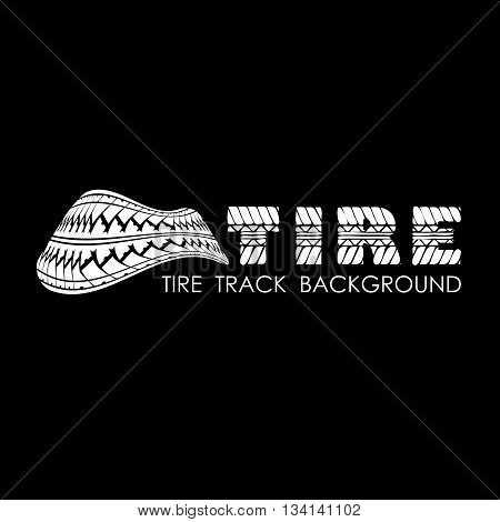 Black tire track background with white silhouette and text
