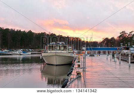 Kotka, Finland - November 21, 2009: Boats in Sapokka Bay (Sapokkan Lahti). Kotka is located in the south of Finland on the coast of the Gulf of Finland in Kymenlaakso Region.