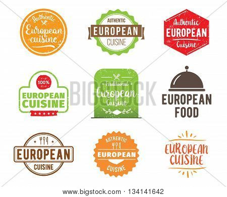 European cuisine, authentic traditional food typographic design set. Vector logo, label, tag or badge for restaurant and menu. Isolated.