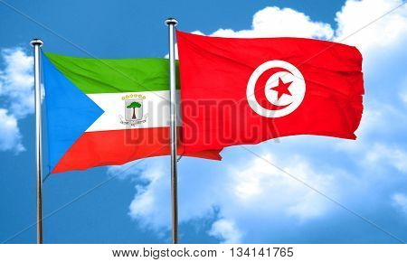 Equatorial guinea flag with Tunisia flag, 3D rendering