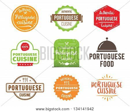 Portuguese cuisine, authentic traditional food typographic design set. Vector logo, label, tag or badge for restaurant and menu. Isolated.