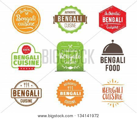 Bengali cuisine, authentic traditional food typographic design set. Vector logo, label, tag or badge for restaurant and menu. Isolated.