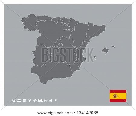Editable template of detailed map of Spain with flag and icons set, isolated on grey