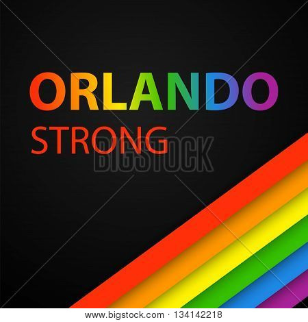 Vector illustration in LGBT colors with Orlando Strong text. Symbol of peace gay culture. Rainbow template paper layers. Pride Month. Gay culture symbol against violence.