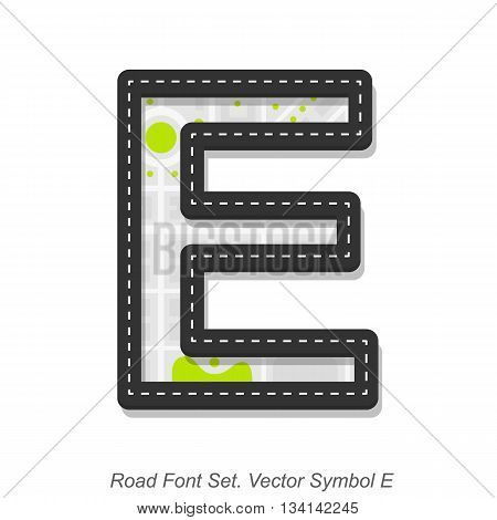 Road font sign, Symbol E, Object on a white background, Vector illustration