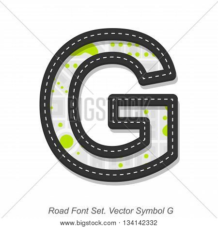 Road font sign, Symbol G, Object on a white background, Vector illustration