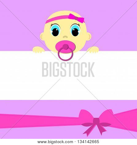 Baby girl with place for your text, greeting card
