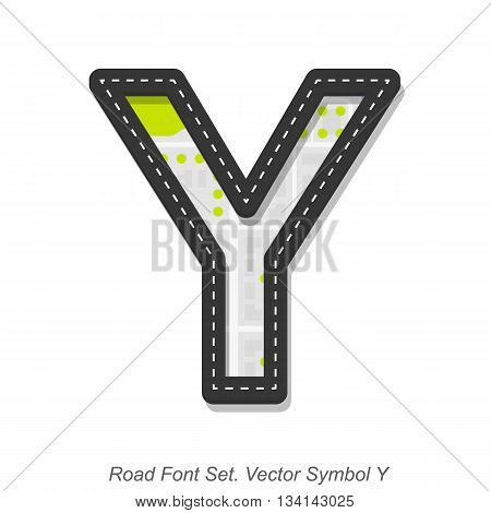 Road font sign, Symbol Y, Object on a white background, Vector illustration