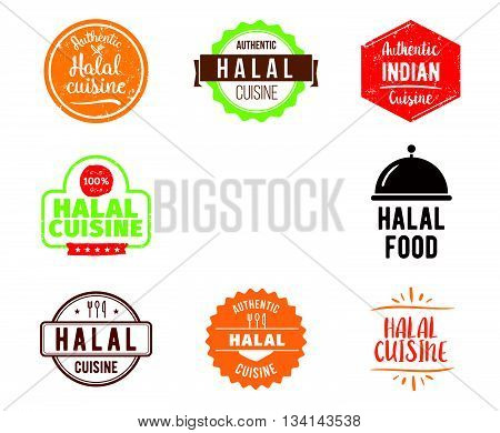 Halal cuisine, authentic traditional food typographic design set. Vector logo, label, tag or badge for restaurant and menu. Isolated.