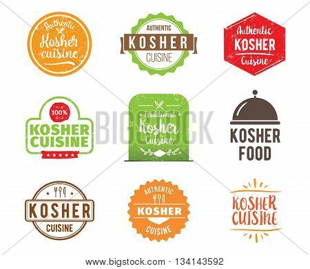 Kosher cuisine, authentic traditional food typographic design set. Vector logo, label, tag or badge for restaurant and menu. Isolated.