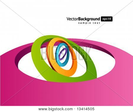 Abstract 3d circles in perspective vector background. Eps 10