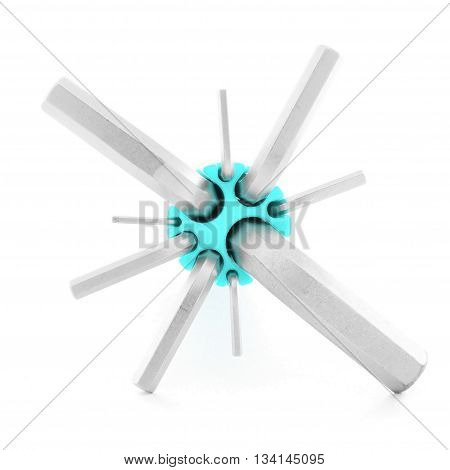 Allen wrench metal tool for industry isolated on white background