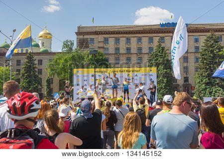 DNEPR UKRAINE - MAY 21 2016:Winners ceremony of the