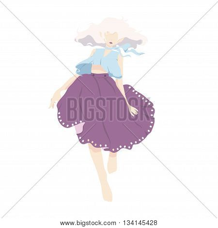 vector edge of a girl dancing in a lush skirt